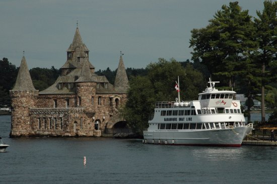 Gananoque Boat Line vessel tied up at Boldt Castle