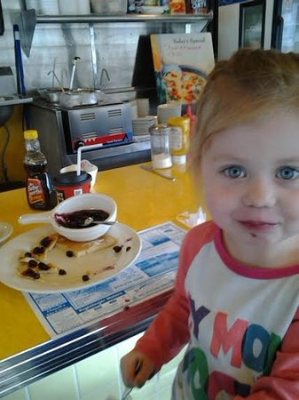 Coudersport, PA: Lila loves the blueberry pancakes!