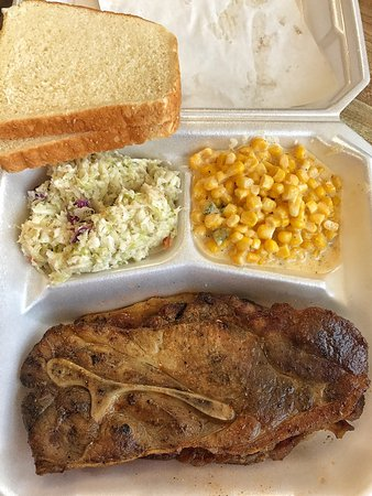 Russell Springs, KY: Pork shoulder with cheesy corn and slaw.