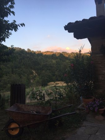 Sant'Angelo in Vado, Italia: A view of Jason's garden with the sun setting as a backdrop. I don't mind this view at all.
