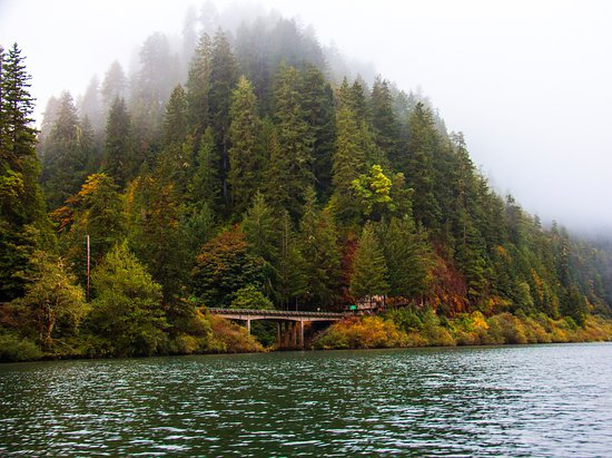Loon Lake bridge on the Umpqua River along highway 38 in Scottsburg Oregon in October
