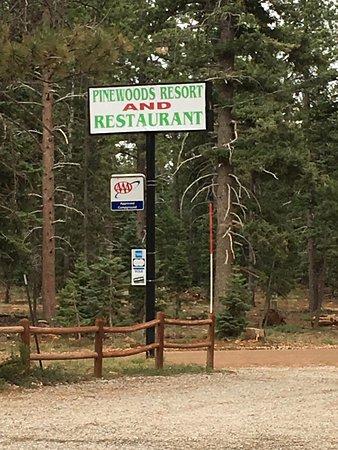 Duck Creek Village, UT: Signage of Pinewoods