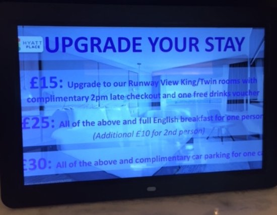 Hyatt Place London Heathrow Airport: upgrade details at time of stay