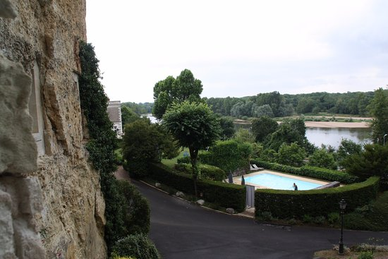 Les Hautes Roches: View of pool and Loire river from inside room 116