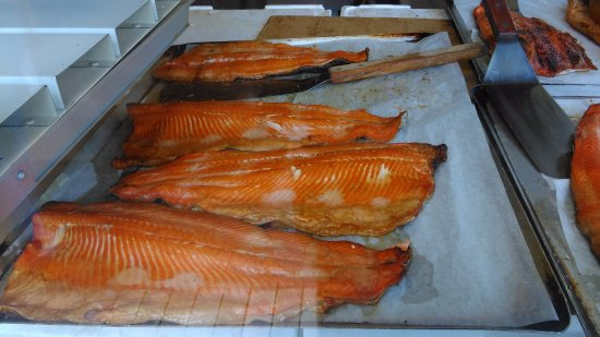 Tervo, Finland: the salmon caught ready cooked for you. Tastes deliciously