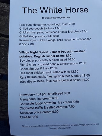 Duns Tew, UK: Village Night Menu