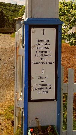 Nikolaevsk, อลาสกา: church sign