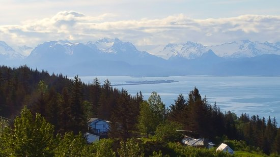 Heritage RV Park: view of homer Spit as you descend into Homer AK