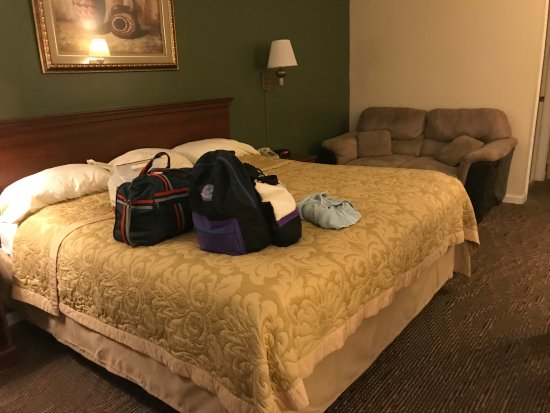 Mifflinville, Pensilvania: nice sized bed but pillows were not comfortable, nice small love seat