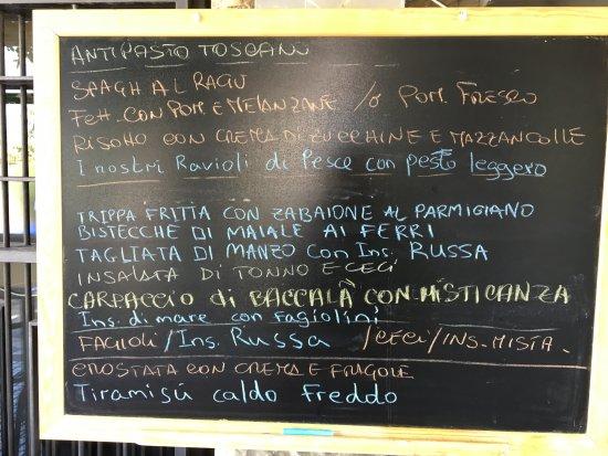 Calcinaia, Italy: Menu' del giorno