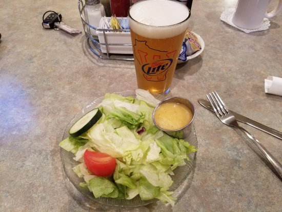 Val's Family Restaurant New: House Salad and Beer