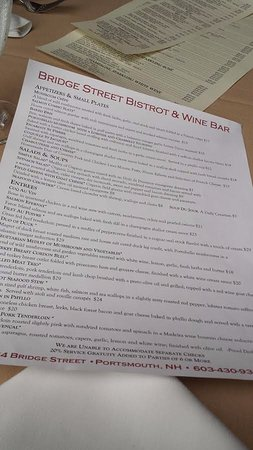 Bridge Street Bistrot & Wine Bar: Menu