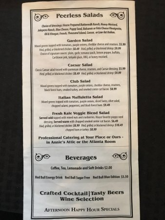 Anniston, AL: The menu as of July 9, 2017