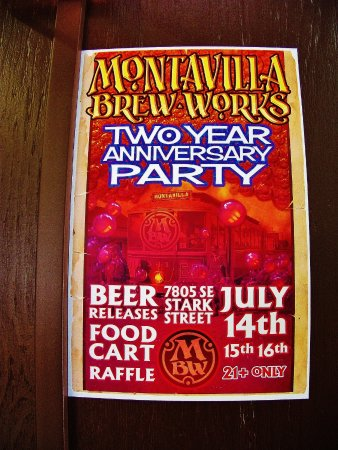 anniversary party flier picture of montavilla brew works portland