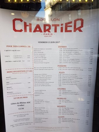 Chartier Restaurant Paris English Menu