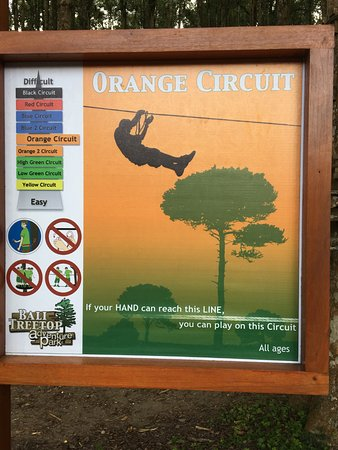 Bedugul, Indonesia: A listing of the course options. The black and red offer a rope swing into a cargo net.