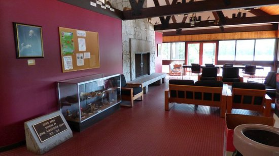 Gardner, MA: inside the visitors center. A big fireplace keeps it cosy in winters