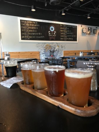 Flights of beer at Props! Amazing brews and food!