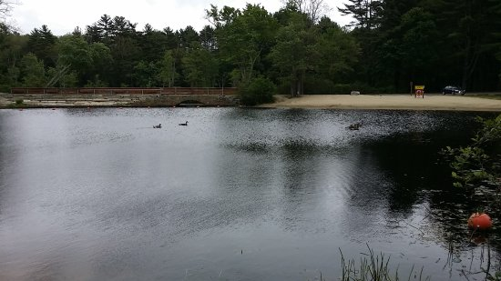 Uxbridge, MA: there is a swimming area safe for children. You can bring your canoe