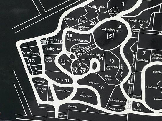 Auburn, État de New York : Cemetary map