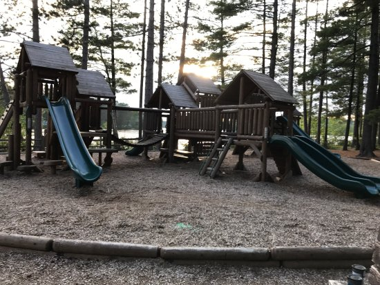 Fish Creek Pond Campground: Fish Creek Campground campsite and playground and view from nearby hike up baker Mountain