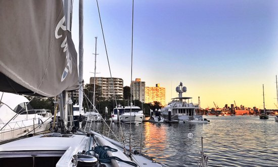EastSail: Sunrise viewed from on deck, Rushcutters Bay, Sydney Harbour