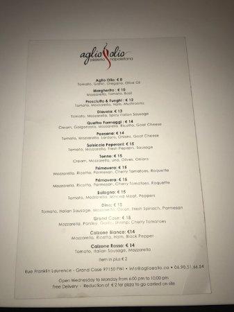 Pizzeria Napoletana Grand Case : Menu. Phone number on menu is incorrect.