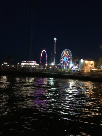 Kemah Boardwalk: Night view from water