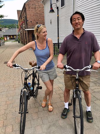 Adams, MA: Getting used to our rental bikes ahead of the Ashuwillticook Rail Trail