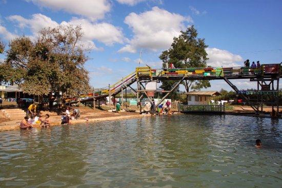 Lashio, พม่า: the adventure bridge with loose planks
