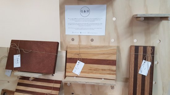 Biloela, Australia: Some of the hand made timber items available for sale...