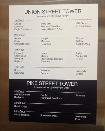 Sheraton Seattle Hotel: Stay in the Pike Street Tower if you want to use the gym/pool for easier access.