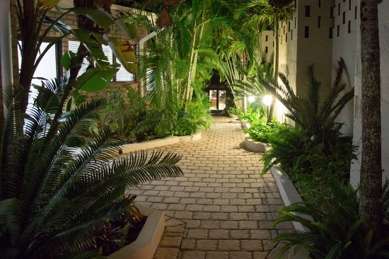 St. Lucia Safari Lodge: Walkway at night
