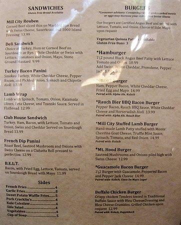Camas, WA: Sandwich and Burger Menu