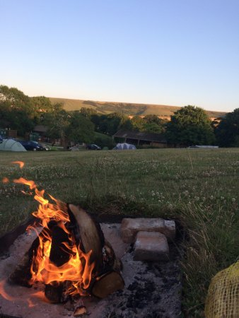 Housedean Farm Campsite: Fire And View Down To Showers, Loos And Kitchen Etc