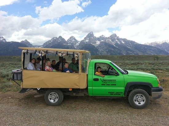 BrushBuck Wildlife Tours customers enjoy our custom safari vehicles on Grand Teton Public Tours!
