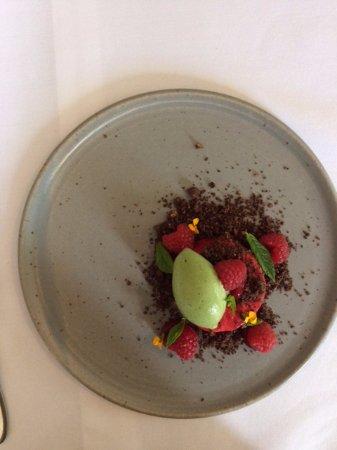 Whitebrook, UK: aerated raspberry mousse