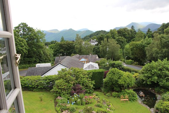 The Grange Country House: Catbells in the distance from Room 8. Lovely garden below.