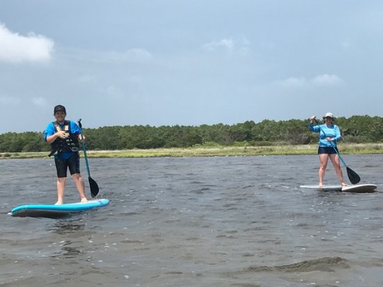 Salvo, NC: My son and friend try the paddle boards!