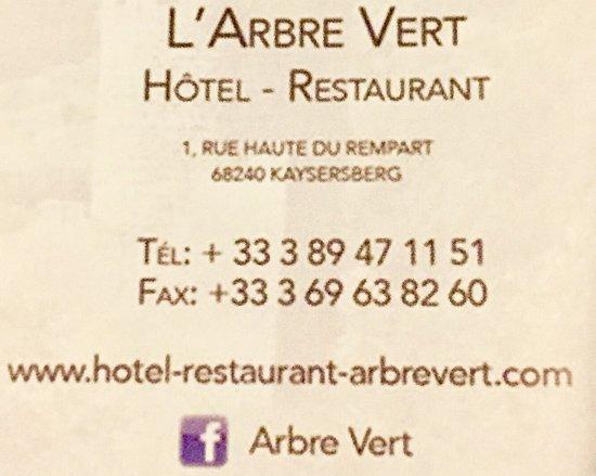 Hotel A l'Arbre Vert : photo1.jpg
