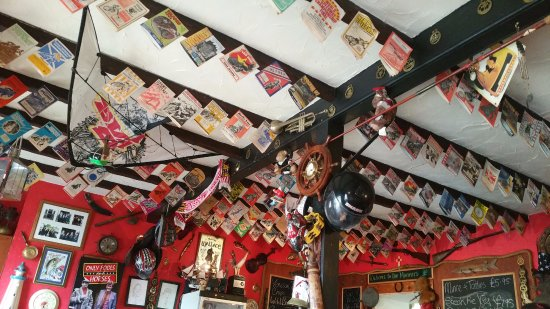 Drummore, UK: Speedway programmes on the ceiling