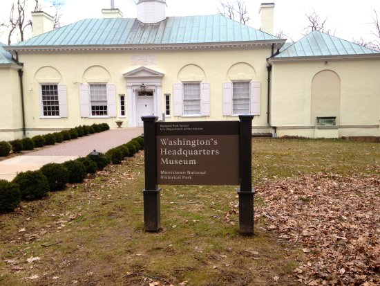 Morristown, NJ: Washington's Headquarters Museum entrance situated in a quiet residential neighborhood