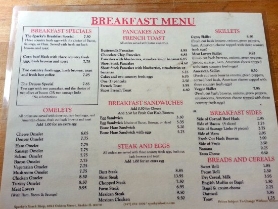 Skokie, IL: breakfast menu at Sparky's Snack Shop