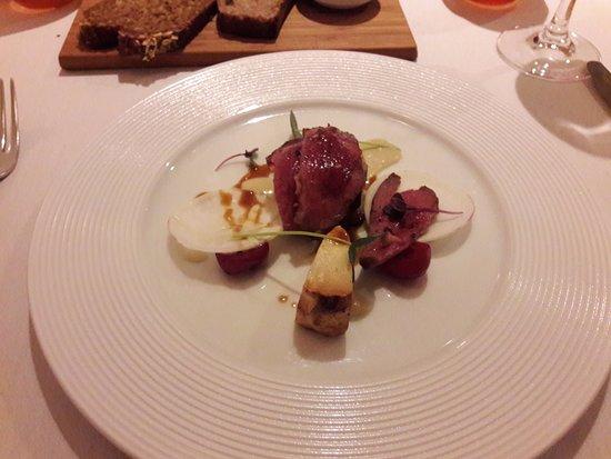 Dax Restaurant: Roasted Breast of Mulard Irish Duck, glazed with Honey and Pepper Pointed Irish Cabbage, Celeria