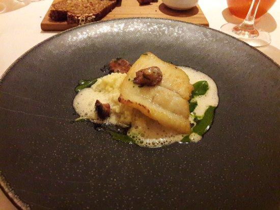 Dax Restaurant: Fillet of Brill, White Asparagus, Broad Beans, Cracked Wheat, Elderflower Sauce