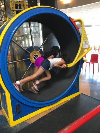 Saint Louis Science Center: The Human Hamster Wheel that powers the tracks and balls.