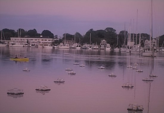 North Kingstown, RI: The harbor lights went out on the bay around sunset.