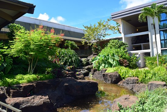 Koi Pond Water Feature Picture Of Hilton Garden Inn Kauai Wailua Bay Kapaa Tripadvisor