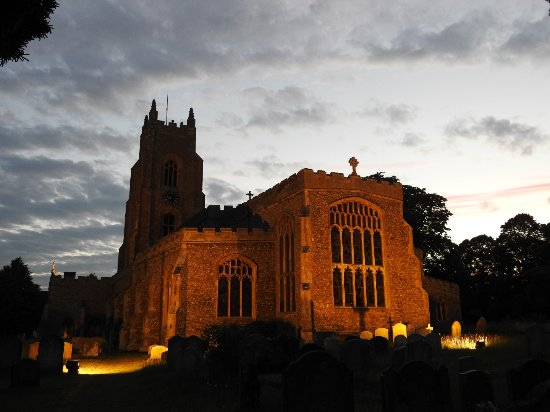 The Crown, Stoke By Nayland: My view, the room and St Mary's church at night