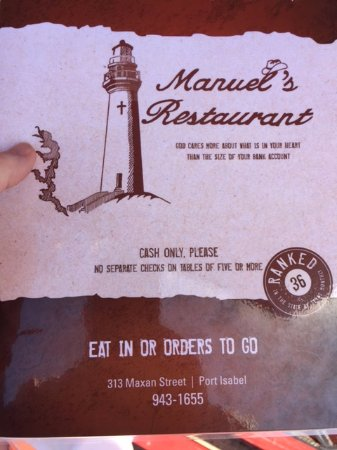 Port Isabel, TX: Menu cover